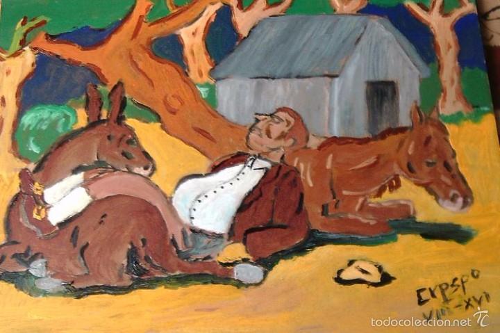 ESCENAS DEL QUIJOTE,SANCHO PANZA DURMIENDO ,ÓLEO SOBRE LIENZO EN BASTIDOR 30X40 CM. (Arte - Pintura Directa del Autor)