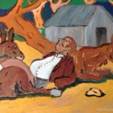 Arte: ESCENAS DEL QUIJOTE,SANCHO PANZA DURMIENDO ,ÓLEO SOBRE LIENZO EN BASTIDOR 30X40 CM.. Lote 58717476