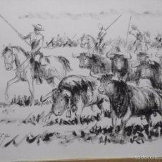 Arte: MAYORALES CON TOROS. LOPEZ CANITO. 64X50.. Lote 58736671