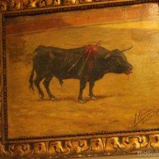 Arte: OLEO SOBRE LIENZO, - TAUROMAQUIA - PINTOR JULIAN ALCARAZ 1918. Lote 58840521