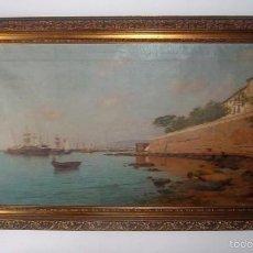 Arte: ENRIQUE FLORIDO BERNILS. - PUERTO DE MÁLAGA EN EL SIGLO XIX - ÓLEO DE GRAN TAMAÑO.. Lote 59426575