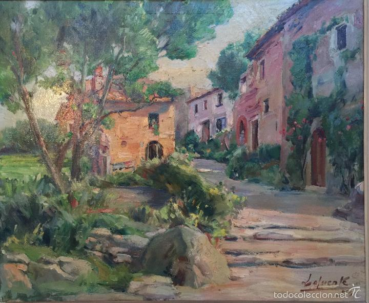 Arte: FIRMADO LAFUENTE , OLEO SOBRE LIENZO , CREO QUE ES TOSSA DE MAR ( CASC ANTIC ) GIRONA - Foto 2 - 59435220
