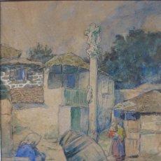 Arte: CARLOS SOBRINO (PONTEVEDRA 1885- VIGO 1978). COMBARRO. A PRAZA DA FONTE. ACURELA.. Lote 59890999