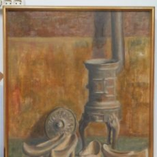 Arte: BONITO OLEO S/ LIENZO. ZUECOS GALLEGOS SECANDOSE EN ESTUFA DE HIERRO. MEDIDADOS SIGLO XX. Lote 60346947