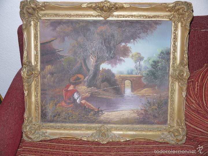 PINTURA AL OLEO SOBRE LIENZO, FIRMADA POR EL AUTOR, MARCO DE MADERA. (Arte - Pintura - Pintura al Óleo Antigua sin fecha definida)