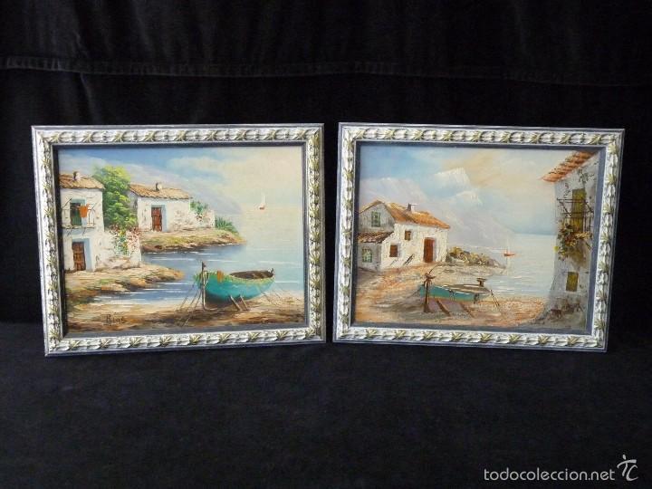 lote de 2 cuadros enmarcados pintados a óleo so - Comprar Pintura al ...