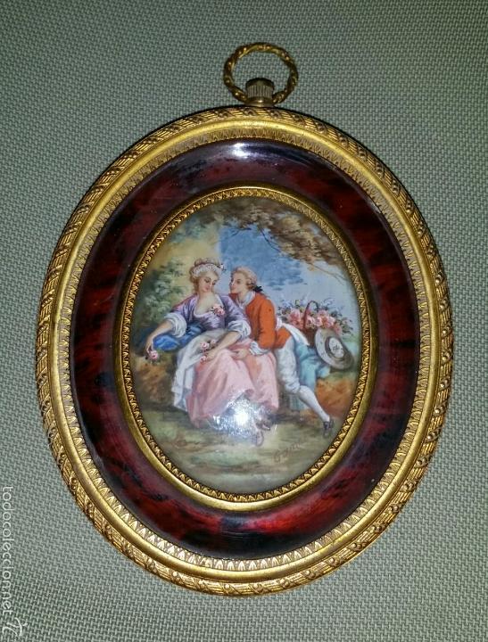 miniatura en marfil firmada gamet en marco dora - Comprar Pintura al ...