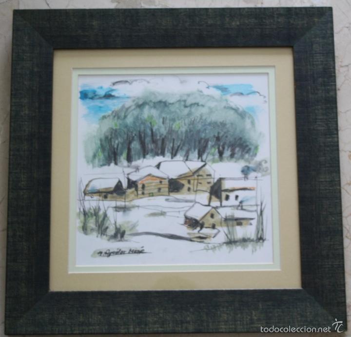 Arte: AGUILAR MORÉ, Óleo y Técnica mixta s/papel, 28 x 28 cm, c/m 47,5 x 47,5 , + libro y foto firmada - Foto 3 - 60671195