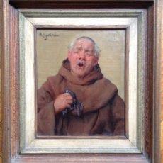 Arte: MICHELE GARINEI (1871-1960) ITALIANO - ÓLEO SOBRE LIENZO - MONJE ESTORNUDANDO. Lote 60855083