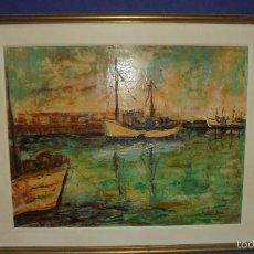 Arte: CUADRO OLEO SOBRE TABLEX DEL PINTOR RAFAEL MARTINEZ BAEZA, ALICANTE 1937. PUERTO, MEDIDAS 65X79 CM.. Lote 61088347