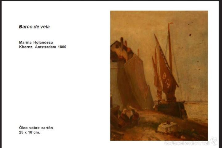 MARINA HOLANDESA. (Arte - Pintura - Pintura al Óleo Antigua siglo XVIII)