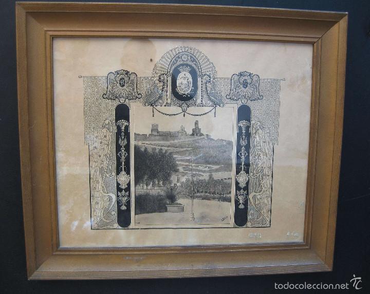CULLERA 1924 DIBUJO ORIGINAL PINTADO MARCO MODERNISTA CASTILLO CALVARIO MERCADO M.GORDÓ BURJASOT (Arte - Pintura Directa del Autor)