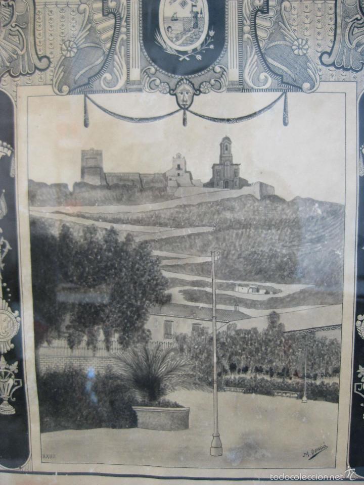 Arte: CULLERA 1924 DIBUJO ORIGINAL PINTADO MARCO MODERNISTA CASTILLO CALVARIO MERCADO M.GORDÓ BURJASOT - Foto 2 - 61155447
