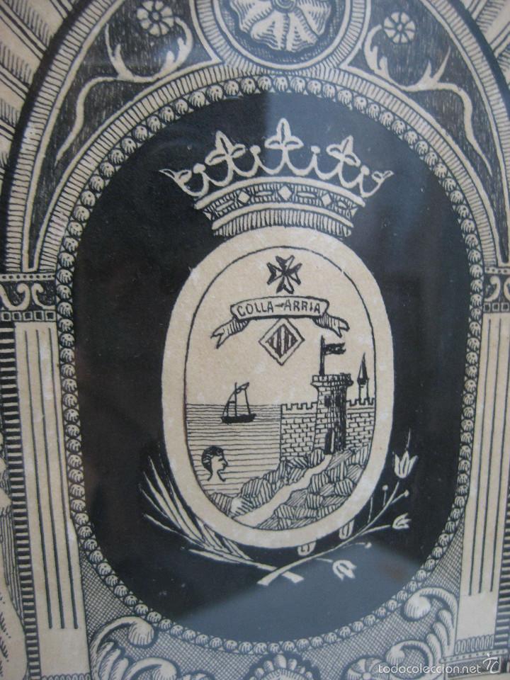 Arte: CULLERA 1924 DIBUJO ORIGINAL PINTADO MARCO MODERNISTA CASTILLO CALVARIO MERCADO M.GORDÓ BURJASOT - Foto 4 - 61155447