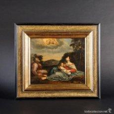 Arte: ESCUELA ITALIANA BARROCA S.XVII. HUIDA A EGIPTO. ÓLEO/TABLA. Lote 139007050