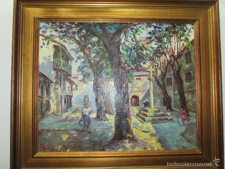 Arte: CUADRO AL ÓLEO CON MARCO-PLAZA DE LAS BÁRBARAS-ABELARDO MIGUEL LOPEZ LEIRA-PONTEDEUME 1918/1991-V/F. - Foto 19 - 61292939