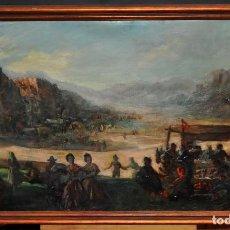 Arte: ERNEST SANTASUSAGNA SANTACREU (BARCELONA, 1900 - 1964) OLEO SOBRE LIENZO. FIESTA CAMPESTRE. Lote 61389151