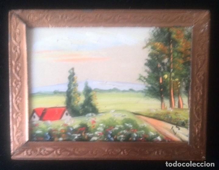 Arte: Dos óleos sobre tabla de paisajes. Firmados. Miniaturas - Foto 3 - 61441263