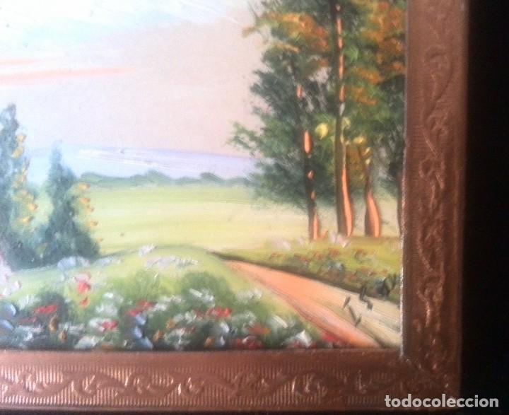 Arte: Dos óleos sobre tabla de paisajes. Firmados. Miniaturas - Foto 4 - 61441263