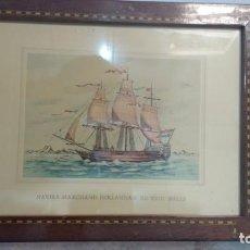 Arte: PLUMILLA COLOREADA NAVIRE MARCHAND HOLLANDAIS DU XVIIIª SIÈCLE. Lote 61545848