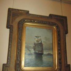 Arte: CUADRO AL ÓLEO - TEMA MARINA - PINTOR SALVADOR ABRIL - VALENCIA (1862-1924). Lote 61563564