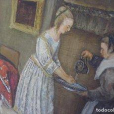 Arte: ANTIGUO OLEO SOBRE TELA ESCENA INGLESA SIRVIENDO A LA XIX OLD ENGLISH PAINTING. Lote 61605492
