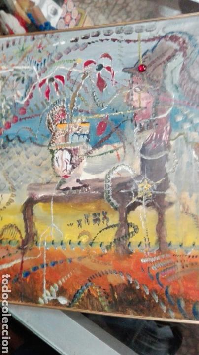 ÓLEO TABLA ABSTRACTO EL COMEDOR DE ÁCIDO, ANÓNIMO 33CMX25CM (Arte - Pintura - Pintura al Óleo Moderna sin fecha definida)