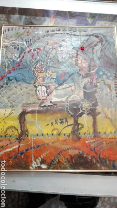 Arte: Óleo tabla abstracto el comedor de ácido, anónimo 33cmx25cm - Foto 2 - 61809487