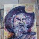 Arte: DON QUIJOTE DE LA MANCHA - OBRA ESCUELA DE ARTE - ACRÍLICO SOBRE CARTULINA DE 70 X 35. Lote 61910404