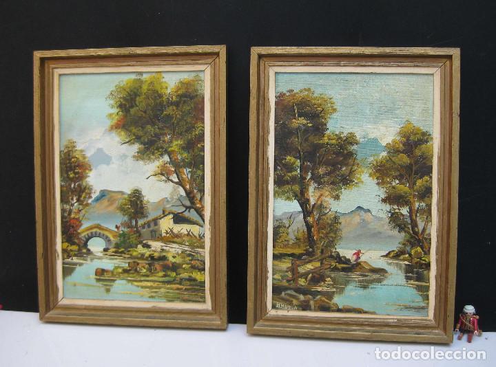 pareja de cuadros oleos sobre lona marcos mader - Comprar Pintura al ...