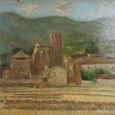 Arte - N5-150. PAISAJE. PUEBLO. ÓLEO SOBRE TABLA. JAUME BELLMUNT. 1904. - 62328696