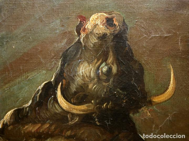 Arte: Federico Molina Albero (Barcelona, 1905 - Bunyola, Mallorca, 1981) Oleo lienzo. Lucha taurina - Foto 6 - 62654676
