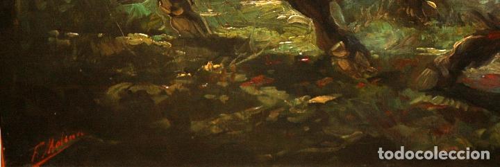 Arte: Federico Molina Albero (Barcelona, 1905 - Bunyola, Mallorca, 1981) Oleo lienzo. Lucha taurina - Foto 9 - 62654676