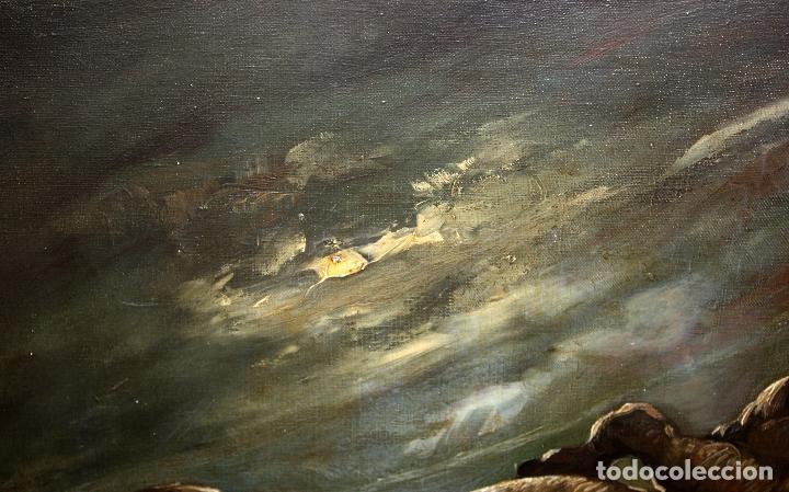 Arte: Federico Molina Albero (Barcelona, 1905 - Bunyola, Mallorca, 1981) Oleo lienzo. Lucha taurina - Foto 11 - 62654676