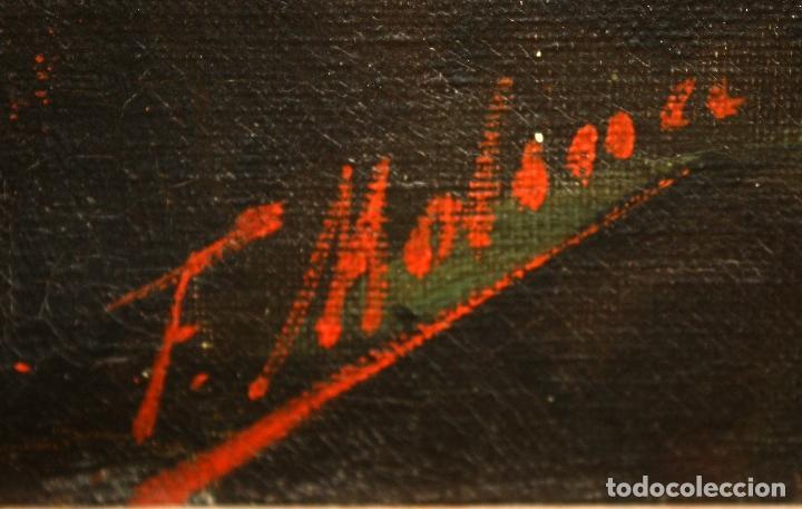 Arte: Federico Molina Albero (Barcelona, 1905 - Bunyola, Mallorca, 1981) Oleo lienzo. Lucha taurina - Foto 13 - 62654676