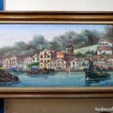 Arte: MAGNIFICA PINTURA DE BARCO EN PUERTO FIRMADA HANNEDOUCHE. Lote 62886144