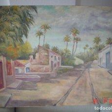 Arte: CUADRO DEL PINTOR VICENTE CLAVEL-REPRESENTA UNA ANTIGUA ENTRADA A ELCHE (ALICANTE). Lote 63157392