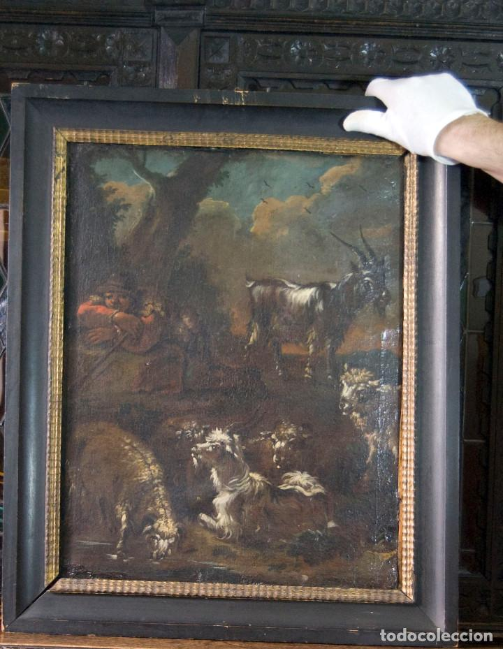 "Arte: Atribuido a ""Rosa de Tivoli"" Roos, Philipp Peter. paisaje con ganado - Foto 4 - 63278432"