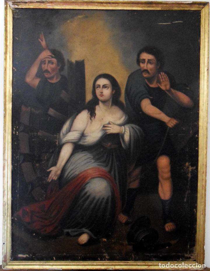 SANTA CATALINA (Arte - Pintura - Pintura al Óleo Antigua siglo XVIII)