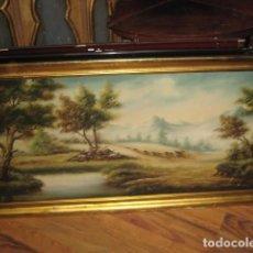 Arte: PAISAJE GRANDE OLEO SOBRE LIENZO ENMARCADO MEDIDA 143 X 73 CM. . Lote 63672979