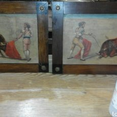 pareja de óleos sobre tabla taurinos XIX