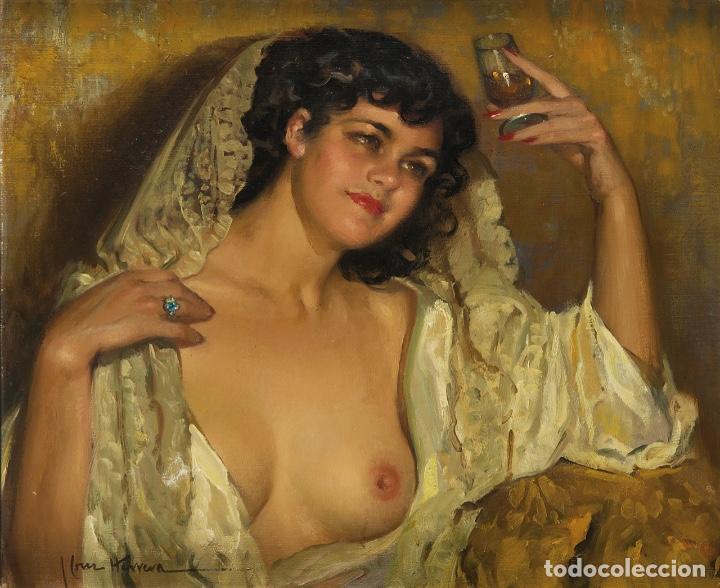 JOSÉ CRUZ HERRERA . MAGNÍFICO ÓLEO SOBRE LIENZO FIRMADO. GRAN RETRATO FEMENINO DESNUDO (Arte - Pintura - Pintura al Óleo Moderna sin fecha definida)