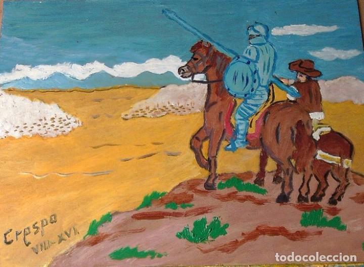 DON QUIJOTE Y SANCHO OBSERVAN A LOS REBAÑOS, ÓLEO SOBRE MADERA 30X40 CM. DE CRESPO (Arte - Pintura Directa del Autor)