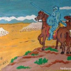 Arte: DON QUIJOTE Y SANCHO OBSERVAN A LOS REBAÑOS, ÓLEO SOBRE MADERA 30X40 CM. DE CRESPO. Lote 64067787