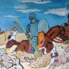 Arte: DON QUIJOTE ALANCEA A LAS OVEJAS, 39X49 CM. ÓLEO MADERA DE CRESPO. Lote 64067819