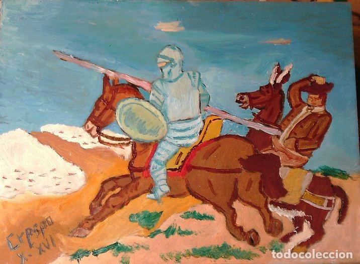 DON QUIJOTE CARGA CONTRA LOS REBAÑOS, 30X40 CM.ÓLEO SOBRE TABLA DE CRESPO (Arte - Pintura Directa del Autor)