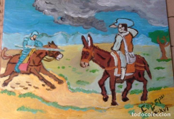 DON QUIJOTE CARGA CONTRA EL BARBERO , 30X40 CM. ÓLEO TABLA DE CRESPO (Arte - Pintura Directa del Autor)