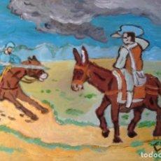 Arte: DON QUIJOTE CARGA CONTRA EL BARBERO , 30X40 CM. ÓLEO TABLA DE CRESPO. Lote 64067911