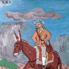 Arte: EL BARBERO CON EL LLAMADO YELMO DE MAMBRINO, 30X40 CM. ÓLEO SOBRE TABLA DE CRESPO. Lote 64067955