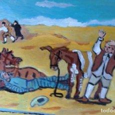 Arte: DON QUIJOTE Y SANCHO EN EL LANCE DE LOS GALEOTES, 30X40 CM. ÓLEO SOBRE MADERA DE CRESPO. Lote 64068031